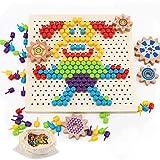 Herefun Tablero de Mosaicos Infantiles, 250 Piezas Mosaicos Botones, Rompecabezas Niños de Uñas Setas, Puzzle Mosaico Juguete Madera Educativo Temprano para Niños y Bebés (A)