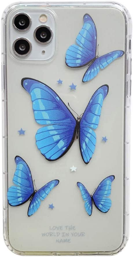 SUBESKING iPhone 11 Pro Max Case Blue Butterfly Cute,Fashion Cool Luxury Silicone Shell Stars Butterflies Pattern Soft TPU Design Clear Slim Fit Shockproof Protective Phone Cover for Women Girls Teen