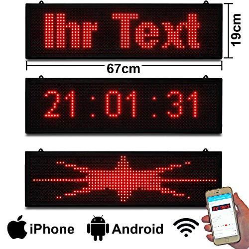 Programmierbar leuchtende rote leds Laufschrift klein 67x19 cm einfach per WiFi Wlan oder App ansteurn