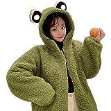 LULUU Trendy Fashion Plush Jacket Women Winter Cute Frog Eyes Hoodie Jacket Long Sleeve Faux Wool Shaggy Oversized Coat Harajuku Fuzzy Plush Warm Zip Up Outwear with Pockets