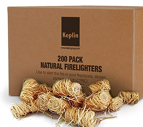 Natural Firelighters - 200pcs Eco Friendly Wood Firelighters - Quick Wood Wool Flame Fire Starters for Stoves, Open Fires, BBQ, Pizza Ovens, BBQ Charcoal and Fire Pit