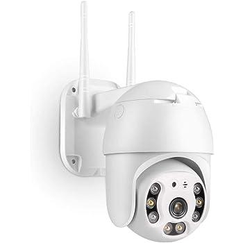 PTZ IP Dome Kamera Outdoor, TMEZON 1080P Überwachungskamera IP WLAN Kamera Aussen und Drinnen, Zwei-Wege-Audio, Bewegungsmelder, 50m Nachtsicht, Message Push, IP66, Unterstützung 128G SD Karte (ohne)