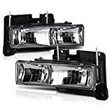 VIPMOTOZ Glass Lens Headlight Headlamp Assembly For 1988-1999 Chevy & GMC C/K Suburban Bla...