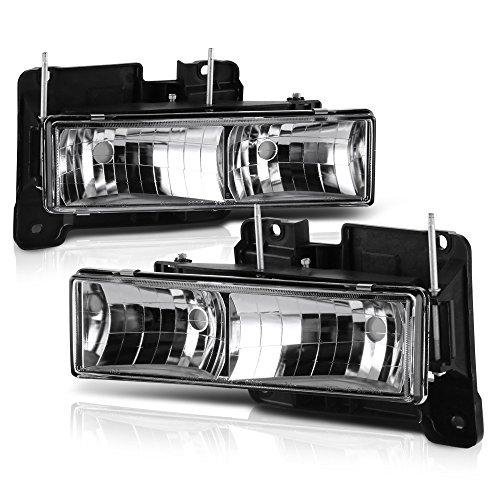 VIPMOTOZ Glass Lens Headlight Headlamp Assembly For 1988-1999 Chevy & GMC C/K Suburban Blazer 1500 2500 3500 - Metallic Chrome Housing, Driver and Passenger Side