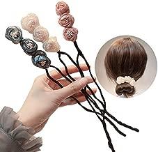 One Step Donut Hair Bun Maker, Women Magic Hair Bun Shapers Styling Twist Headband with Translucent Veil Flower for Girl Hairstyle DIY Tool (3 Colors)