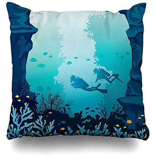 Asekngvo Throw Pillow Case Square Size 18'x18 Blue Diver Underwater Marine Life Arrecife de Coral Parques de Buceo Recreación Deportiva Yellow