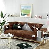 Longue Cubre Sofa Acolchado,fundas de sofa ,Funda de sofá de esquina de madera maciza,fundas de sofá de 2/3/4 plazas para patio,funda de sofá en forma de L,protector de sofá seccional universal-marró