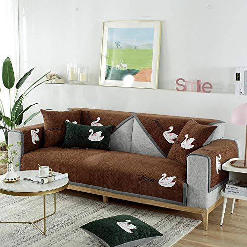 YUTJK Cojín de sofá con diseño de Cisne,Cojín de Sofá Universal de Cuatro Estaciones,Cojín de Protección de Sofá,Funda de Asiento de Tela,para Primavera,marrón