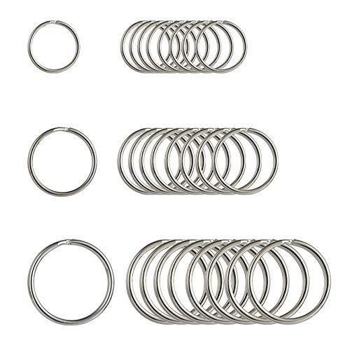 Thursday April 30 Stück Schlüsselringe Runde Flache Ringe Set Metall Split Ring Stahl gehärtet vernickelt für Haus Schlüssel Organisation und Handwerk (30mm 25mm 20mm)