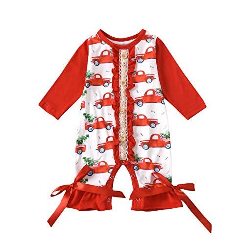 IBAKOM - Mono de algodón para recién nacidos, diseño de Papá Noel, muñeco de nieve