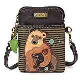 Chala Crossbody Cell Phone Purse - Women PU Leather Multicolor Handbag with Adjustable Strap - Two Bears - Olive Stripe
