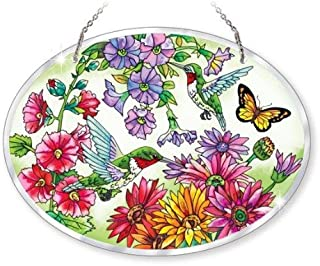 Amia Beveled Glass Large Oval Suncatcher Hand-Painted Hummingbird Design, 9 by 6-1/2-Inch