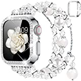 Goton Compatible for Apple Watch Band 40mm, Women Girls Handmade Natural Agate Pearl Bracelet Strap Crystal Pearl Elastic Replacement Watchband for iWatch Bands Series SE/6/5/4 (White, 40mm)