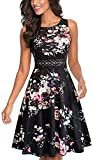 HOMEYEE Women's Sleeveless Cocktail A-Line Embroidery Party Summer Wedding Guest Dress A079(10,Black+Floral 2)