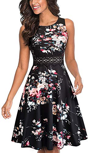 HOMEYEE Women's Sleeveless Cocktail A-Line Embroidery Party Summer Wedding Guest Dress A079(8,Black+Floral 2)