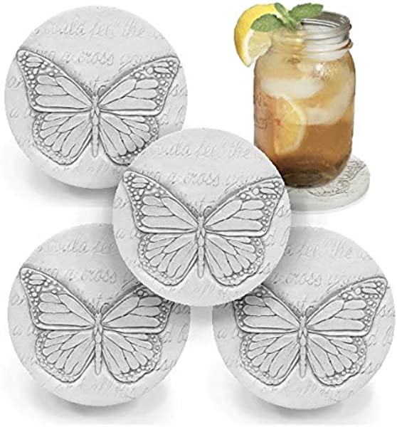 Drink Coasters By McCarter Coasters Butterfly Absorbent Light Beige 4 25 Inch 4pc