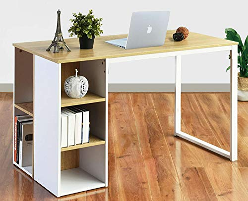 Office Computer Desk with Storage Shelves 47.2 Inches White Students Study Table Home ps5 Gaming Desk Corner Writing Desk Modern Large Wood PC Laptop Table Wood and Steel Structure, Oak