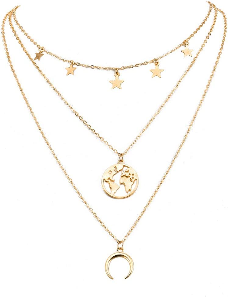 Yunzee Star Moon World Map Charm Necklace Layering Chain Choker Minimalist Y Necklaces for Women Girls