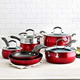 Epicurious Aluminum Nonstick 11-Piece Cookware Set with Impact-bonded Stainless Steel Base,...