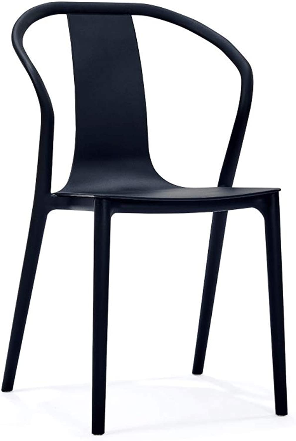 SLH Modern Minimalist Chair Armrest Dining Chair Nordic Home Living Room Casual Fashion Plastic Chair (color   Black)