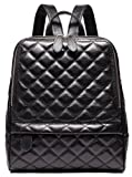 Coolcy Casual Women Real Genuine Leather Backpack New Vintage Style Shoulder Bag (Black)