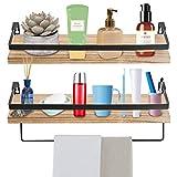 Wowoss 2 piezas estantería flotante de madera y metal, baldas flotantes para salón, dormitorio, cocina y baño - 42 x 14 cm