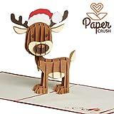 PaperCrush Pop-Up Karte Weihnachten Rentier - Lustige 3D Weihnachtskarte für Kinder, Freundin oder Freund - Handmade Weihnachtsgrußkarte inkl. Umschlag