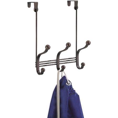 """iDesign York Metal Over the Door Organizer, 3-Hook Rack for Coats, Hats, Robes, Towels, Bedroom, Closet, and Bathroom, 8.38"""" x 5.25"""" x 11"""", Bronze"""