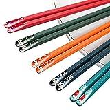 RoxNvm Bacchette cinesi in lega, Bacchette in fibra di vetro, 5 colori bellissimi bacchette cinesi modello set bacchette di sushi di sicurezza in stile giapponese riutilizzabili antiscivolo