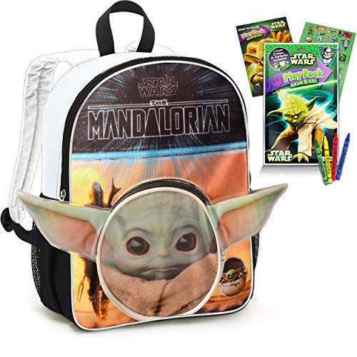 Mandalorian Baby Yoda Backpack for Toddlers Kids Bundle - Premium 11  Star Wars Mini School Bag with Coloring Book, Stickers, and More (Mandalorian School Supplies)