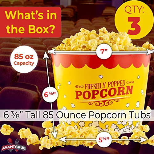 Product Image 4: Leakproof, Super Durable 85oz Popcorn Buckets 3 Pack. Grease-Proof Disposable Pop Corn Tubs With Cool Design Are the Ultimate Movie Theater Accessory. Large Containers Great for Any Party or Event