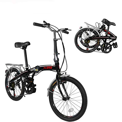 Xspec 20' 7 Speed Folding Compact City Commuter Bike, Black
