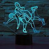 Lámparas LED 3D Lucha ilusión óptica luz nocturna 7 colores Contacto Arte Escultura luces con cables USB Lámpara Decoración Dormitorio escritorio mesa para niños adultos