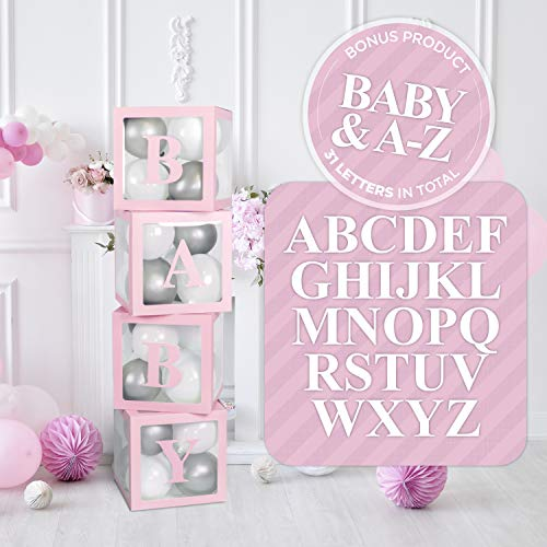 Balloon Boxes Baby Shower Decorations | 31 Letters A-Z + B + BABY for GRAD or Names | Birthday Party Decor, Gender Reveal Transparent Decorative Blocks (Pink)