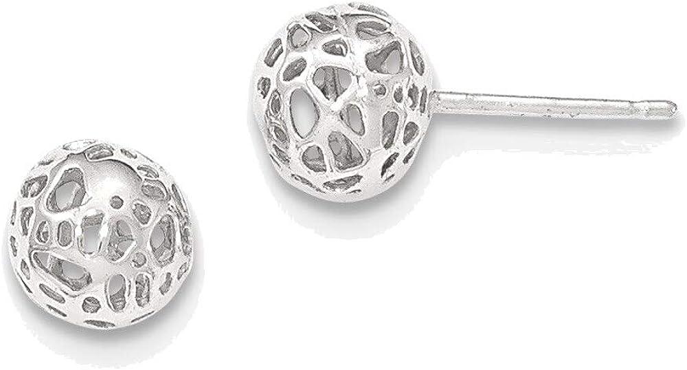 14K White Gold Medium Fancy Ball Post Earrings