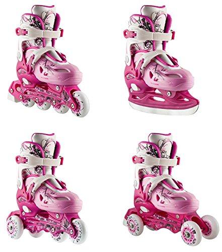 4in1 Inlineskates Rollschuhe Triskates Schlittschuhe Nils NH0320A pink Gr. 31-38 verstellbar (31-34 verstellbar)
