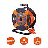 Link2Home Cord Reel 80 ft. Extension Cord 4 Power Outlets – 14 AWG SJTW Cable. Heavy Duty High Visibility Power Cord.