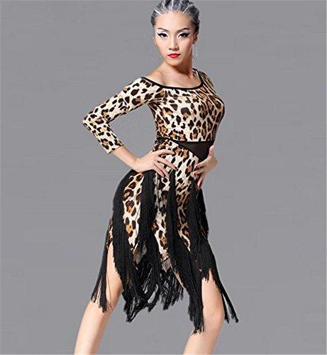 peiwne Frau Latein Tanzkleid/Leopard Fransen Kleid/Tanzwettbewerb/Show, Leopard