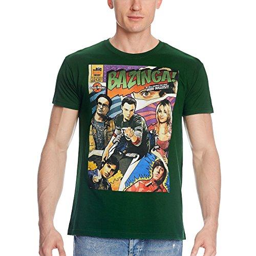 The Big Bang Theory Comic Style Shirt mit Leonard, Sheldon, Penny, Raj, Howard & Bazinga, grün - L