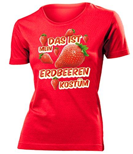 Erdbeeren Kostüm Kleidung 1719 Damen T-Shirt Frauen Karneval Fasching Faschingskostüm Karnevalskostüm Paarkostüm Gruppenkostüm Rot S