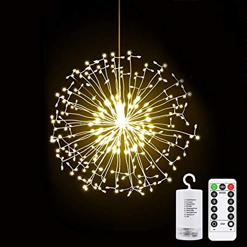 Vegena 200 LED Fairy String, Fireworks Lights Led Copper Wire Starburst String Lights with Remote Control 8 Modes Battery Powered for Garden,Christmas Tree,Party,Indoor,Outdoor Warm White