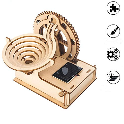 APROTII DIY Track ball Solar Energy Toys 3D Wooden Puzzle Game Assembly Model Building Kit Toys For Children Kids Sets-Best Christmas,Birthday Gift for Boys,Children,Adult,Education building blocks