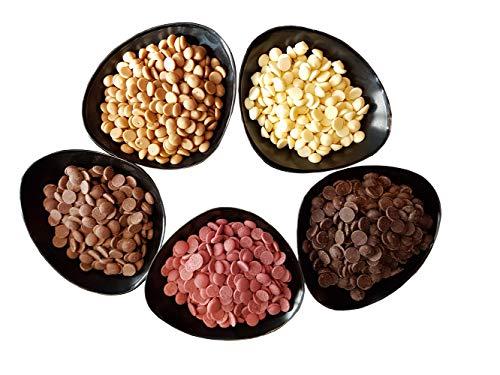 Legendary - it's all about beans und Callebaut Callets Mix DARK / MILCH / WEIß/ GOLD / RUBY 5 x 0,25 Kg - Original belgische Schoko Drops, für Schokoladen-Fondue und Schoko-Brunnen