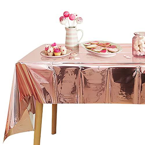 Party Tischdecke Roségold, Plastik Einweg Geburtstag Tischdecken für Rechteck Tisch, Kunststoff Tischdekoration für Outdoor Garten Picknick Hochzeit Geburtstag Weihnachten Party Deko (2,74 x 1,37 M)
