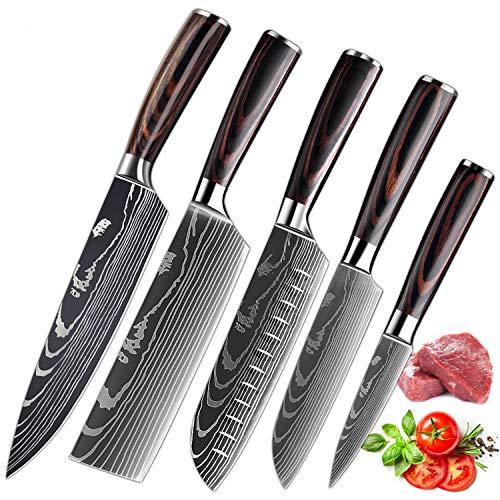 Küchenmesser, Scharfe Kochmesser aus Edelstahl in Mehreren Größen mit Bequemen Griff, Kochmesser Gegen Rost für die Küche/das Restaurant zu Hause (5pcs)