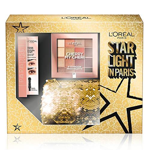 L'Oréal Paris Cofanetto Idea Regalo, Mascara Paradise e Palette 16 Ombretti Caldi Cherry My Cheri, Pochette 2 Pezzi Star Light in Paris