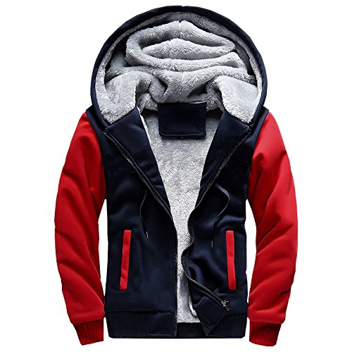 ASALI Men's Pullover Winter Jackets Hooed Fleece Hoodies Sweatshirt Wool Warm Thick Coats Red M#02