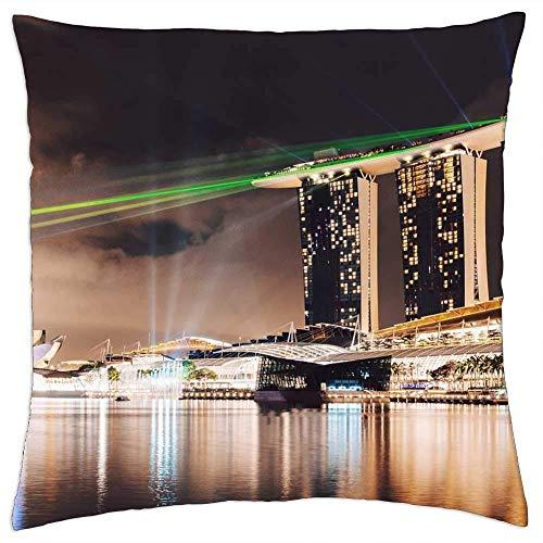 Fundas de almohada, fundas de cojín de Singapore Landmark Bay para edificios de hotel, llamativas fundas de cojín para correr, escalar, viajar, 45 x 45 cm