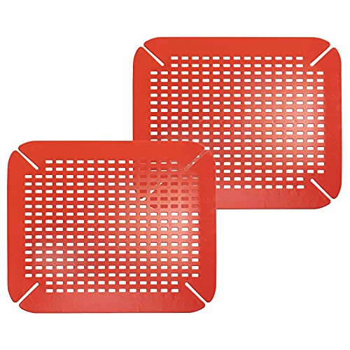 mDesign Adjustable Kitchen Sink Dish Drying Mat/Grid - Soft Plastic Sink Protector - Cushions Sinks, Stemware, Wine Glasses, Mugs, Bowls, Dishes - Quick Draining, Contours to Sink - 2 Pack - Red
