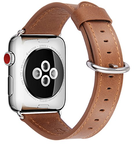 JSGJMY Compatible with Apple Watch Band 38mm 40mm 42mm 44mm Women Men Genuine Leather Replacement Strap for iWatch Series 5 4 3 2 1 (Camel with Silver Stainless Steel Clasp, 42mm/44mm S/M)